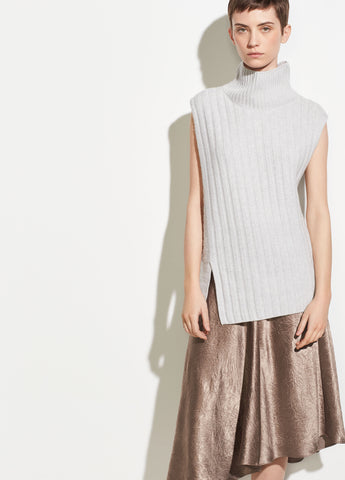 Mixed Rib Sleeveless Turtleneck in Light Heather Grey