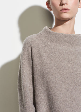 Funnel Neck Pullover in Heather Taupe