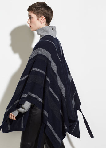 Striped Wrap in Coastal/Medium Heather Grey