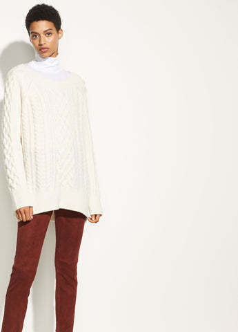 Cable Knit Tunic in Off White