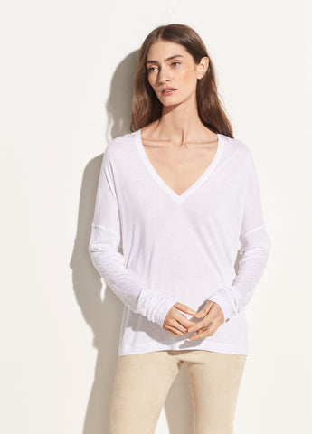 Drop Shoulder V-neck in Optic White