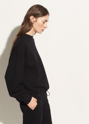 Long Sleeve Mock Neck Pullover in Black