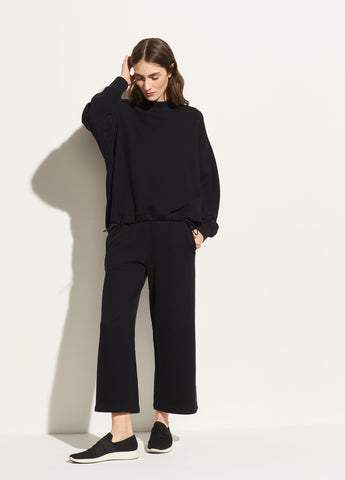 Cropped Cotton Culotte in Black