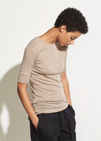 Short Sleeve Crew in Heather Camel