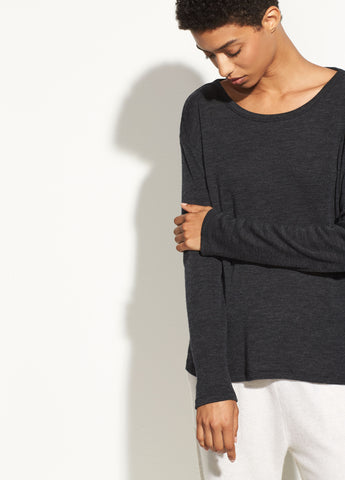 Relaxed Long Sleeve Crew in Heather Charcoal
