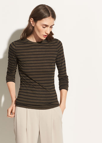 Heather Stripe Long Sleeve Crew in Heather Olive/Black