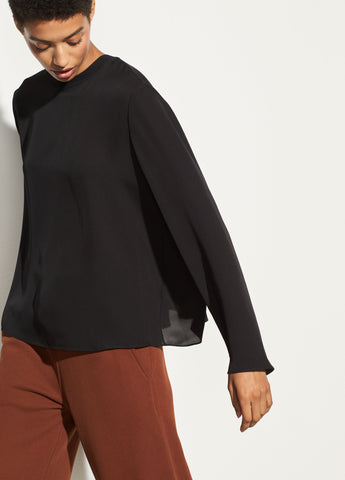 Rib Trim Blouse in Black