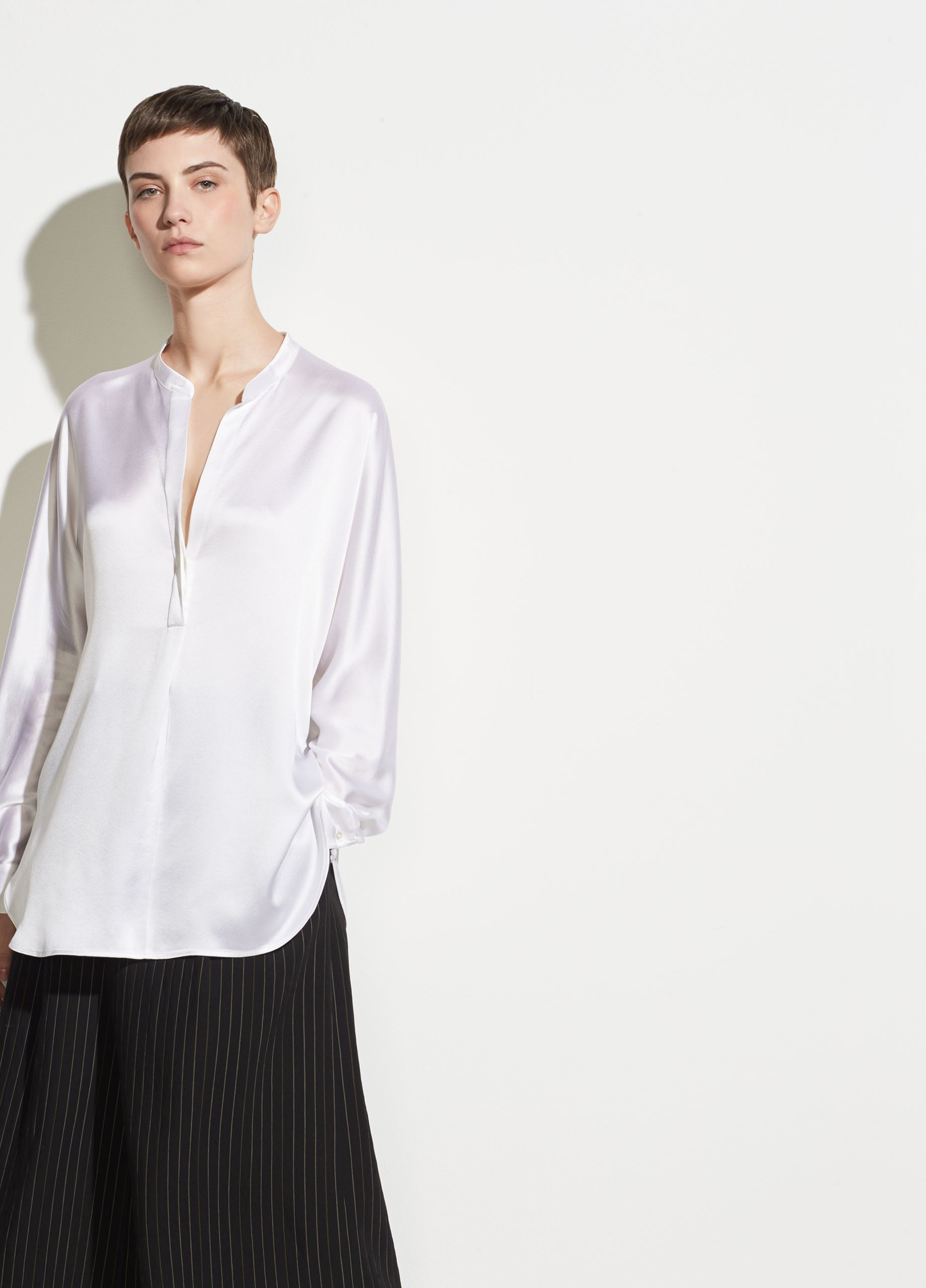 5919132248af8c Vince | Band Collar Silk Blouse in Optic White | Vince Unfold