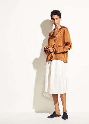 Tie Neck Silk Popover in Light Copper