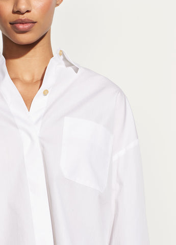 Boxy Cotton Shirt in Optic White