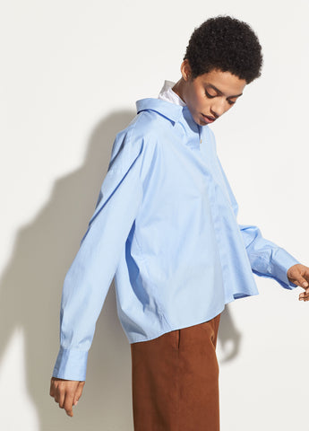Boxy Cotton Shirt in Sky Blue