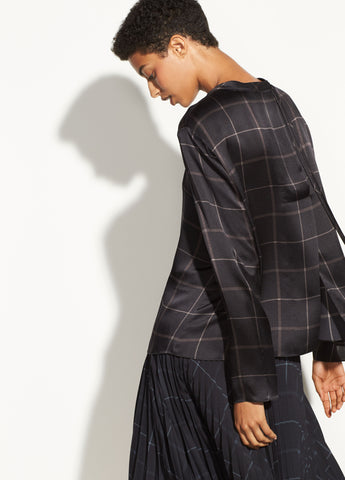 Grid Plaid Mock Neck Blouse in Black