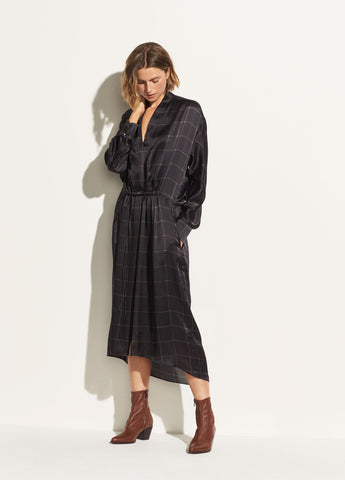 Grid Plaid Wrap Dress in Black