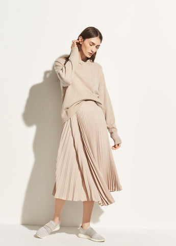 Drape Pleated Skirt in Stoneware