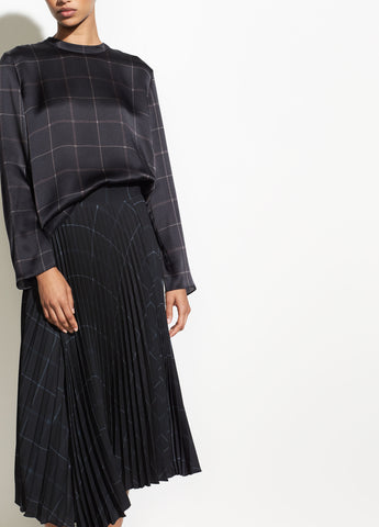 Grid Plaid Drape Pleated Skirt in Black
