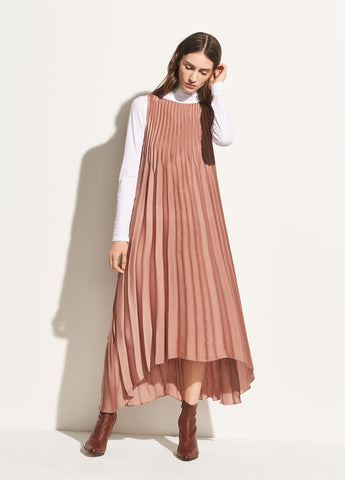 Chevron Pleated Dress in Vintage Rose