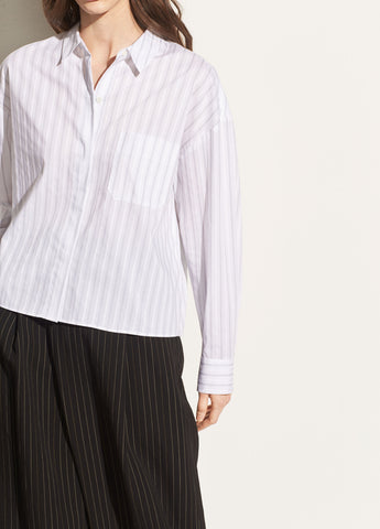 Pinstripe Dobby Boxy Shirt in Optic White