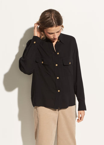 Buttoned Utility Shirt in Black