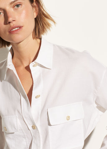 Buttoned Utility Shirt in Optic White
