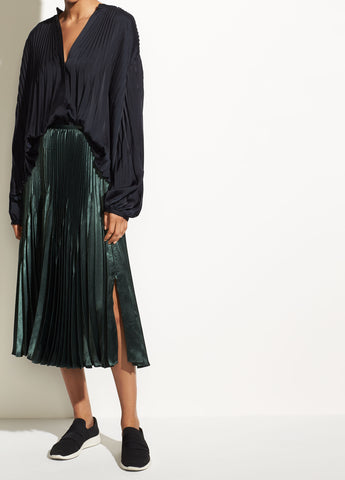Chevron Pleated Skirt in Forest