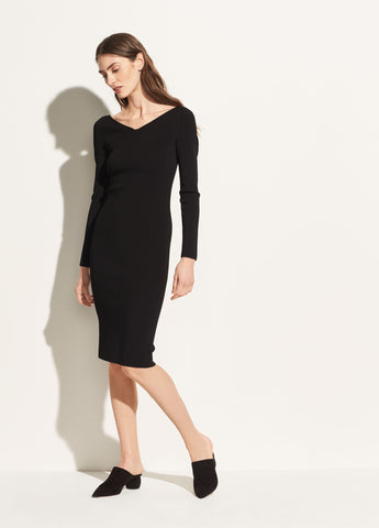 Ribbed V-Neck Dress in Black