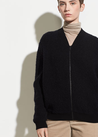 Boucle Wool Bomber in Black