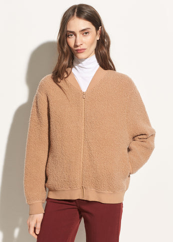 Boucle Wool Bomber in Toffee