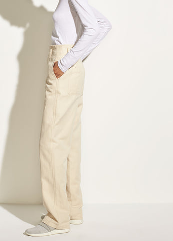 Seam Front Wide-Leg Pant in Sandalwood