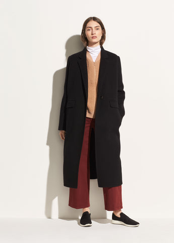 Long Brushed-Wool Coat in Black