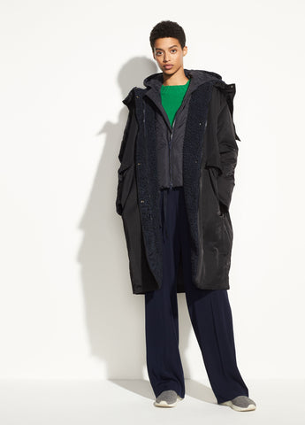 Mixed Media Puffer Coat in Black