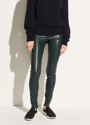 Leather Zip Legging in Dark Palm