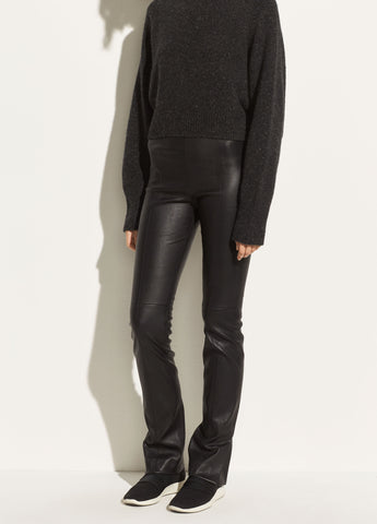 Stitch Front Leather Legging in Black