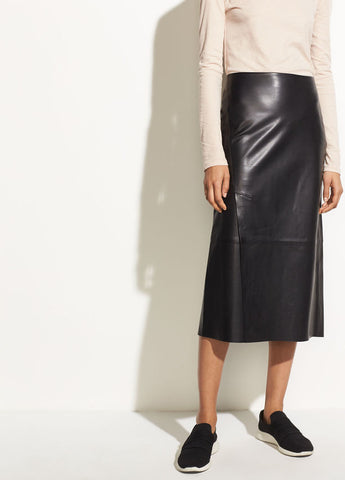 Leather Slit Skirt in Black