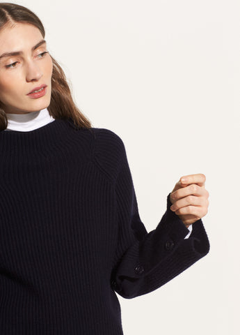 Button Sleeve Funnel Neck in Coastal