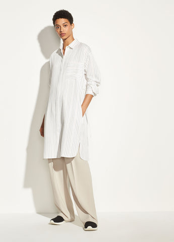 Bar Stripe Shirt Dress in Off White
