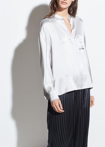 Single Pocket Silk Blouse in Celeste