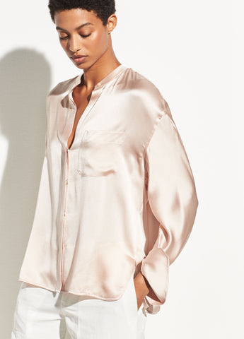 Single Pocket Silk Blouse in Desert Rose