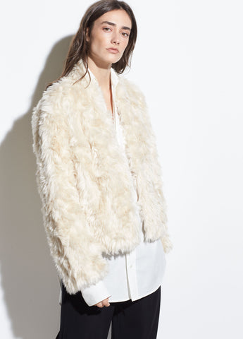 Plush Faux Fur Jacket in Creme