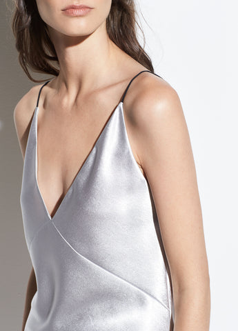 Metallic Satin V-Neck Cami in Silver