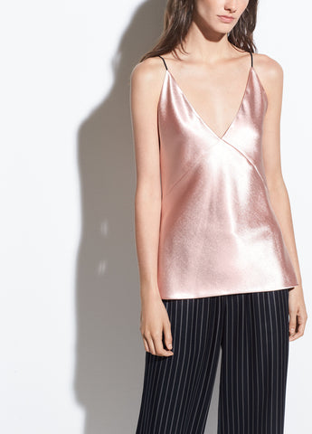 Metallic Satin V-Neck Cami in Blush