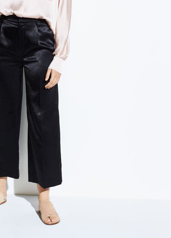 Metallic Satin Crop Wide Pant in Black