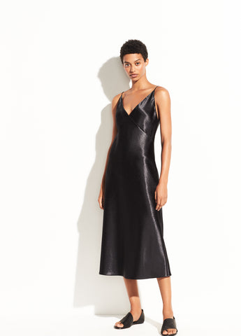 Metallic Satin V-Neck Dress in Black