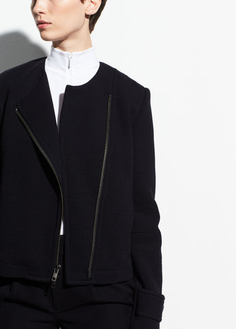 Cotton Cross Front Jacket in Black