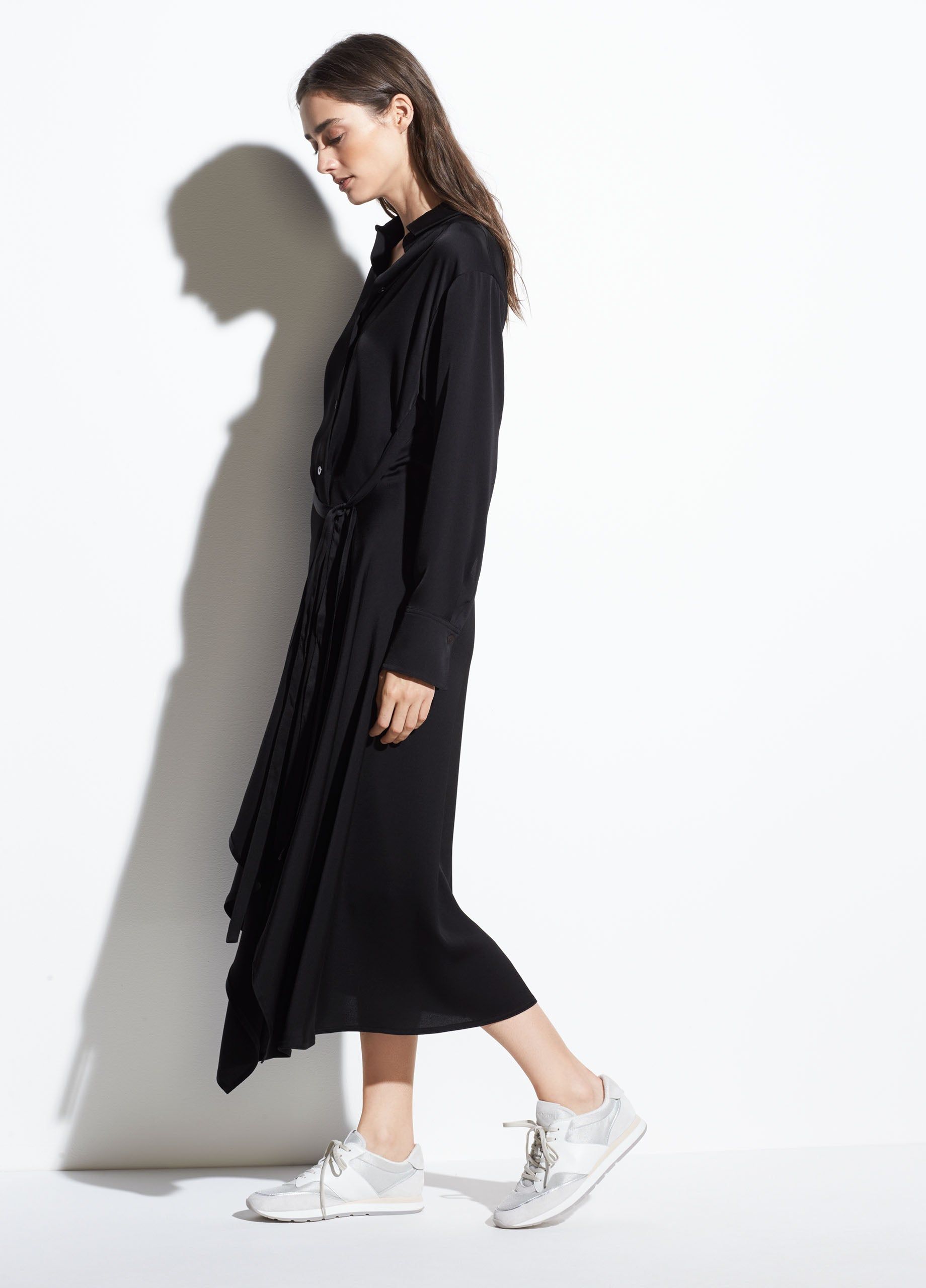 27179367587 Tie Front Shirt Dress in Black