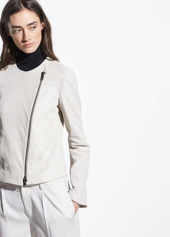 Cross Front Leather Jacket in Greystone
