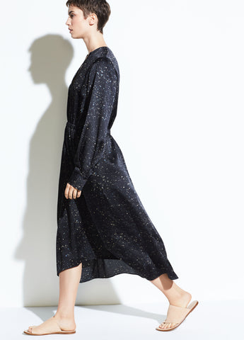 Constellation Print Poet Dress in Black/Topaz