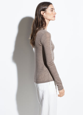Long Sleeve Wool V-Neck in Dark Heather Camel