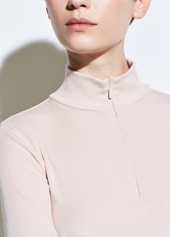 Rib Long Sleeve Half Zip in Desert Rose