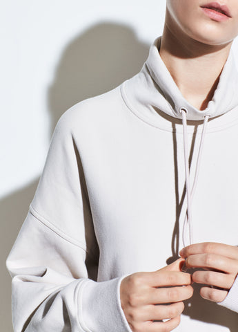 Funnel Neck Pullover Sweatshirt in Sandstone