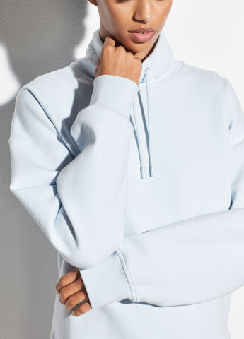 Funnel Neck Pullover Sweatshirt in Cloud